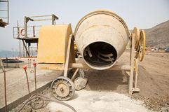 Yellow cement mixer Royalty Free Stock Photography