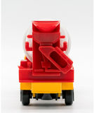 Yellow cement mixer truck toy isolated on white. Background. Building and construction industry, industrial business commercial concept stock photos
