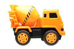Cement truck toy. Yellow cement truck toy isolated on white background Royalty Free Stock Images