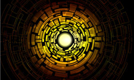 Yellow center labyrinth with multiple complicated. Ways on black background Stock Photos