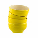 Yellow ceramic bowls. Isolated on white background Royalty Free Stock Images