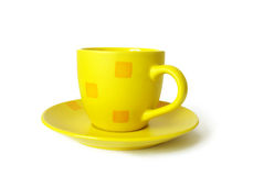 Yellow ceramic cup Stock Photo