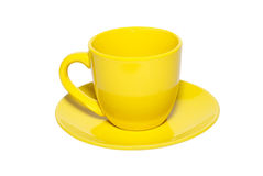 Yellow ceramic cup and saucer Stock Photo
