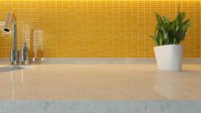 Yellow ceramic modern kitchen design background with kitchen mar Stock Photo