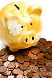 Yellow ceramic piggy bank on a pile of cents Stock Image