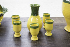 Yellow ceramic vases Stock Photo