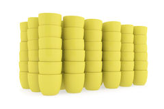 Yellow ceramics flowerpot set, rendered models Royalty Free Stock Photos