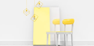 Yellow chair by blank whiteboard against wall. At home Royalty Free Stock Photography