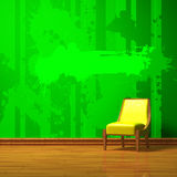Yellow chair in green  interior Stock Photography