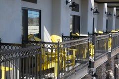 Yellow Chairs. On the balcones of a Cottonwood, Arizona hotel Stock Photo