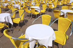 Yellow chairs and tables cafe Stock Photo