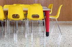 Yellow chairs and tables in the kindergarten Stock Image