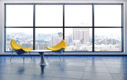 Yellow Chairs by Window in City High Rise Building Stock Photo