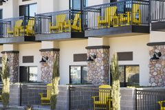 Yellow Chairs. On the balcones of a Cottonwood, Arizona hotel Stock Photography