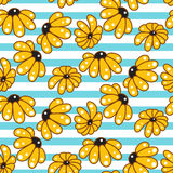 Yellow chamomile striped blue seamless pattern. Royalty Free Stock Photography