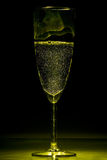 Yellow champagne flute glass Royalty Free Stock Images