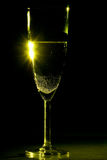 Yellow champagne flute glass Royalty Free Stock Photos