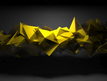 Yellow chaotic polygonal structure, 3d render. Abstract digital background, interior with yellow shining chaotic polygonal structure, 3d render illustration Stock Photography