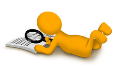 Yellow character. Reading book using a magnifier. He is searching for something royalty free stock photos