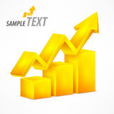 Yellow chart with arrow on white Stock Photography