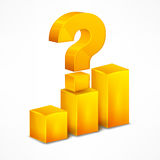 Yellow chart with question mark on white Stock Photography