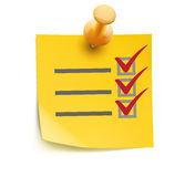 Yellow check list Royalty Free Stock Image