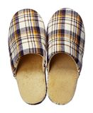Yellow checkered slippers isolated on white background. Close up, high resolution Royalty Free Stock Image