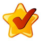 Yellow checkmark star Royalty Free Stock Images