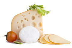 Yellow Cheese. With a red tomato and some slices  on white background Stock Image