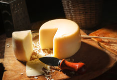 Yellow cheese. Business still life from classical sample of yellow cheese Stock Photography
