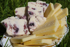 Yellow cheese and cheese with cranberries Stock Photo