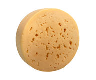 Yellow cheese of circle form. Royalty Free Stock Photography