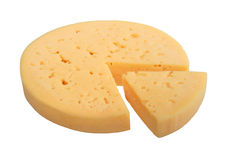 Yellow cheese of circle form with sector part. Stock Images