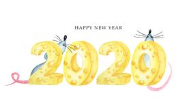 2020 cheese font. Hand drawn watercolor illustration. Happy Chinese rat new year. 2020 yellow cheese font. Hand drawn watercolor illustration. Happy Chinese rat stock photography