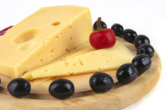 Yellow cheese served Royalty Free Stock Images