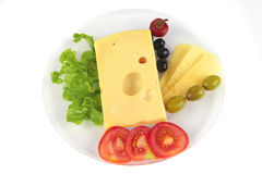 Yellow cheese served on dish Stock Photo