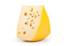Yellow cheese. On a white background Stock Images