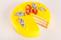 Yellow cheesecake lemon dessert marzipan mouse Stock Photos