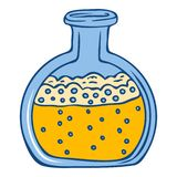 Yellow chemical flask icon, hand drawn style stock illustration