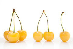 Yellow cherries - one two three Stock Image