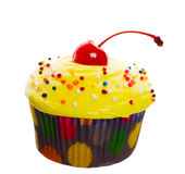 Yellow Cherry Cupcake Stock Image