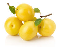 Yellow cherry plums isolated on the white background Stock Photos