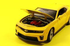 Yellow Chevrolet Camaro Die-cast Model stock image