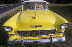 A yellow 1956 Chevrolet for sale in Maine Stock Images