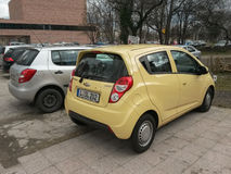 Yellow Chevrolet Spark car in Leipzig Stock Photography