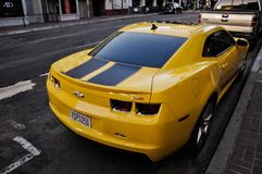 Yellow Chevrolet sport car parking. SAN DIEGO/CALIFORNIA - AUGUST 17, 2017: Chevrolet car parking on the street in downtown of San Diego Royalty Free Stock Photos