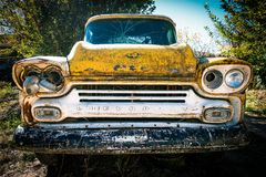 Yellow Chevy Pickup Truck in Low Photography Royalty Free Stock Photography
