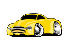 Modern American Yellow Muscle Pickup Truck Cartoon Illustration. Modern American Yellow Muscle Truck Cartoon Illustration. Lots of chrome, aggressive stance, low Royalty Free Stock Photo