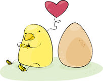Yellow chick. Who loves an egg Stock Image