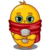 Yellow Chick Character with Coffee Stock Photography